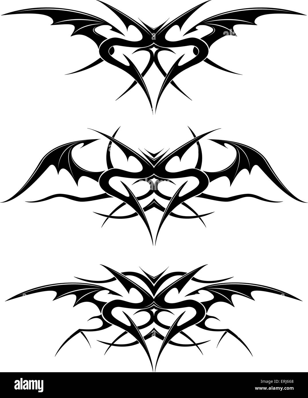 Black tattoo isolated on white - Stock Image