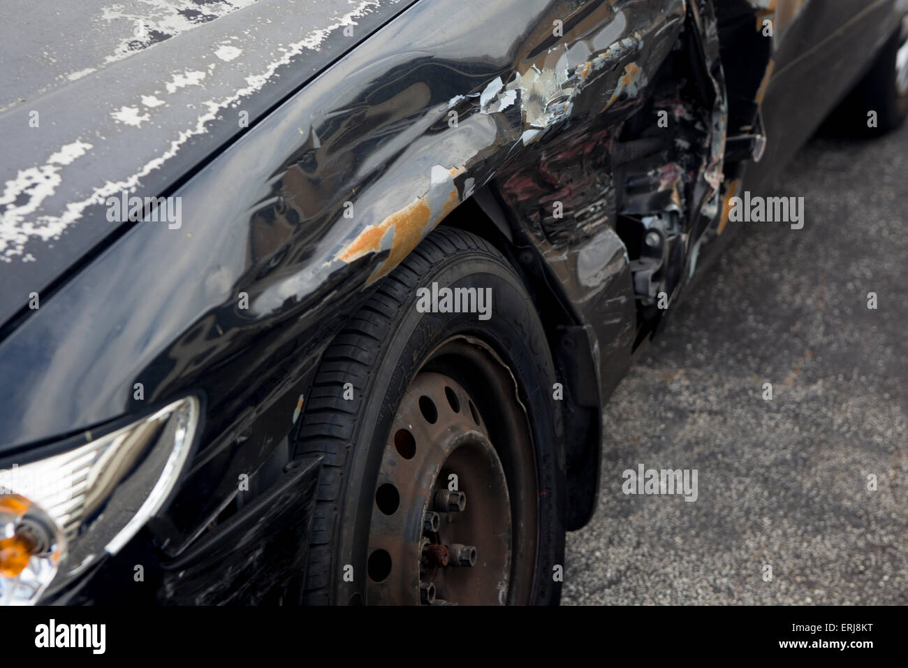 Side Swiped Car at the Wheel Well Accident - Stock Image