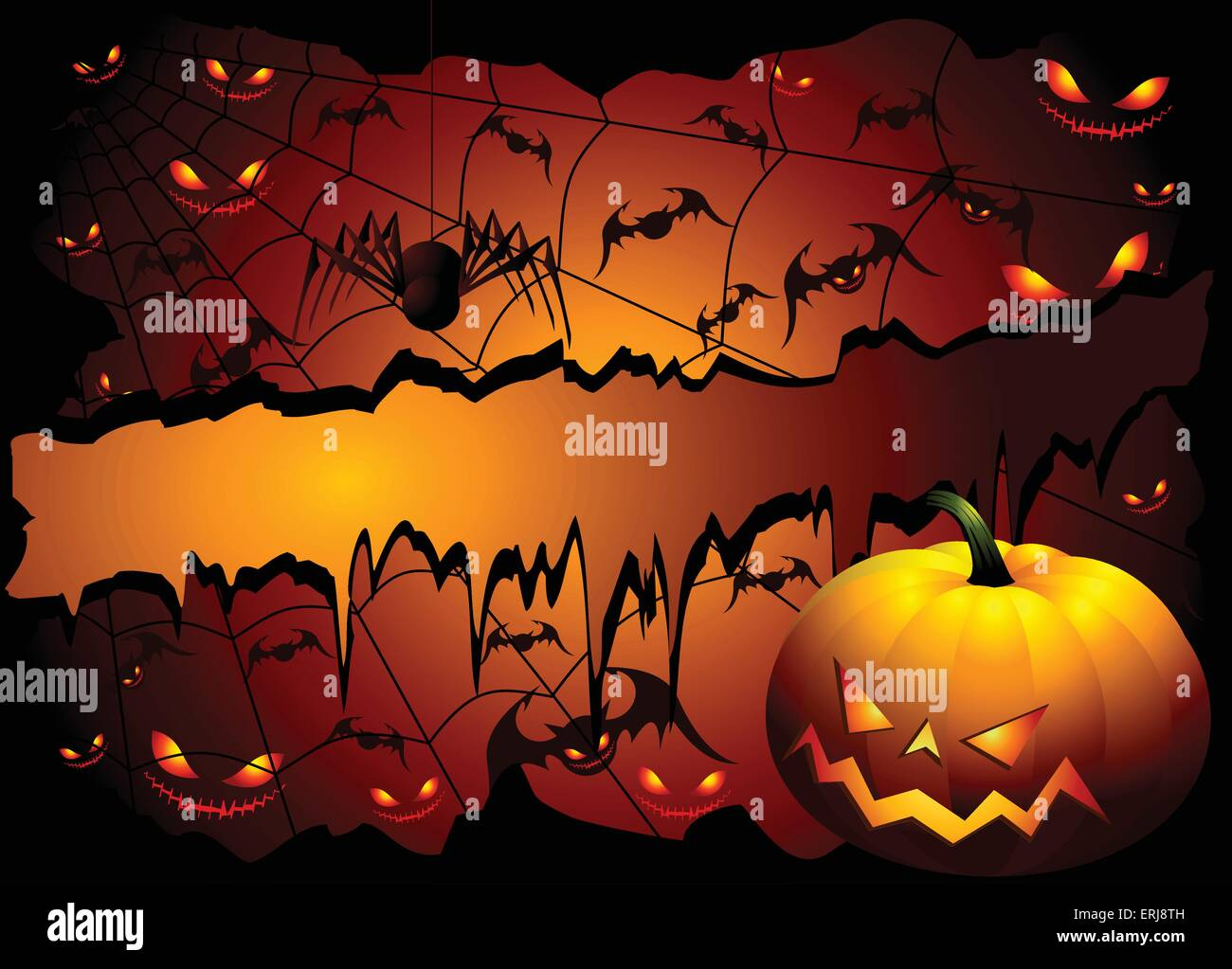 Halloween background with pumpkin and spider - Stock Vector