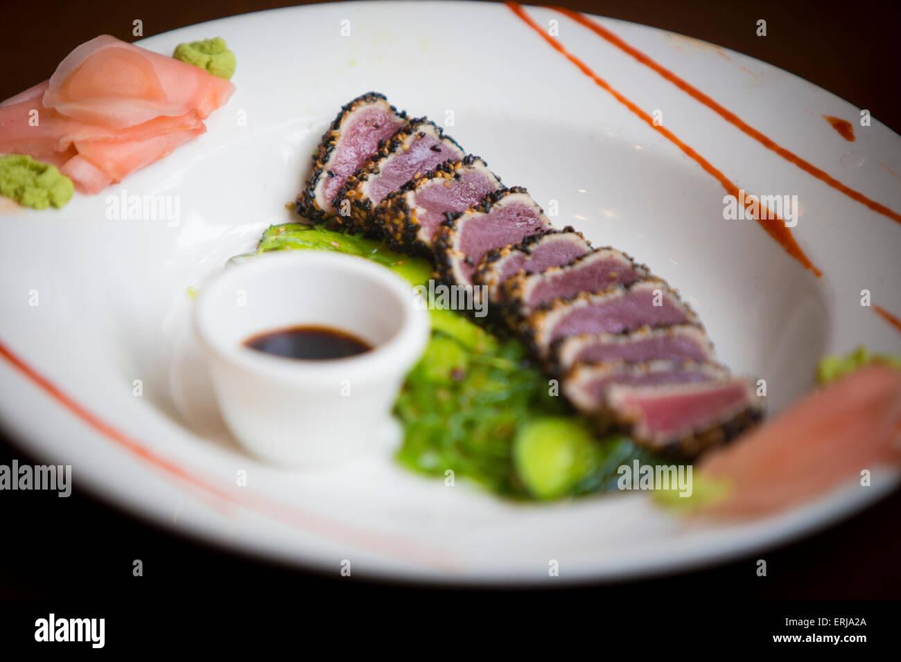 Sesame Crusted Ahi Tuna - Stock Image