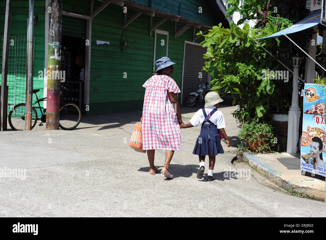 Garifuna people in Livingston, Isabal Department in Guatemala. - Stock Image