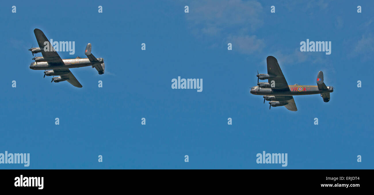 The Lancasters of The War Memorial Flight and the Canadian Warplane Heritage Museum Lancaster. - Stock Image