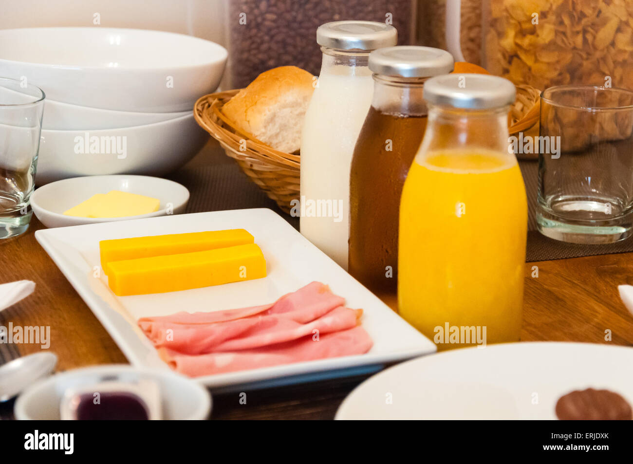 continental breakfast table setting at a hotel & continental breakfast table setting at a hotel Stock Photo: 83384635 ...