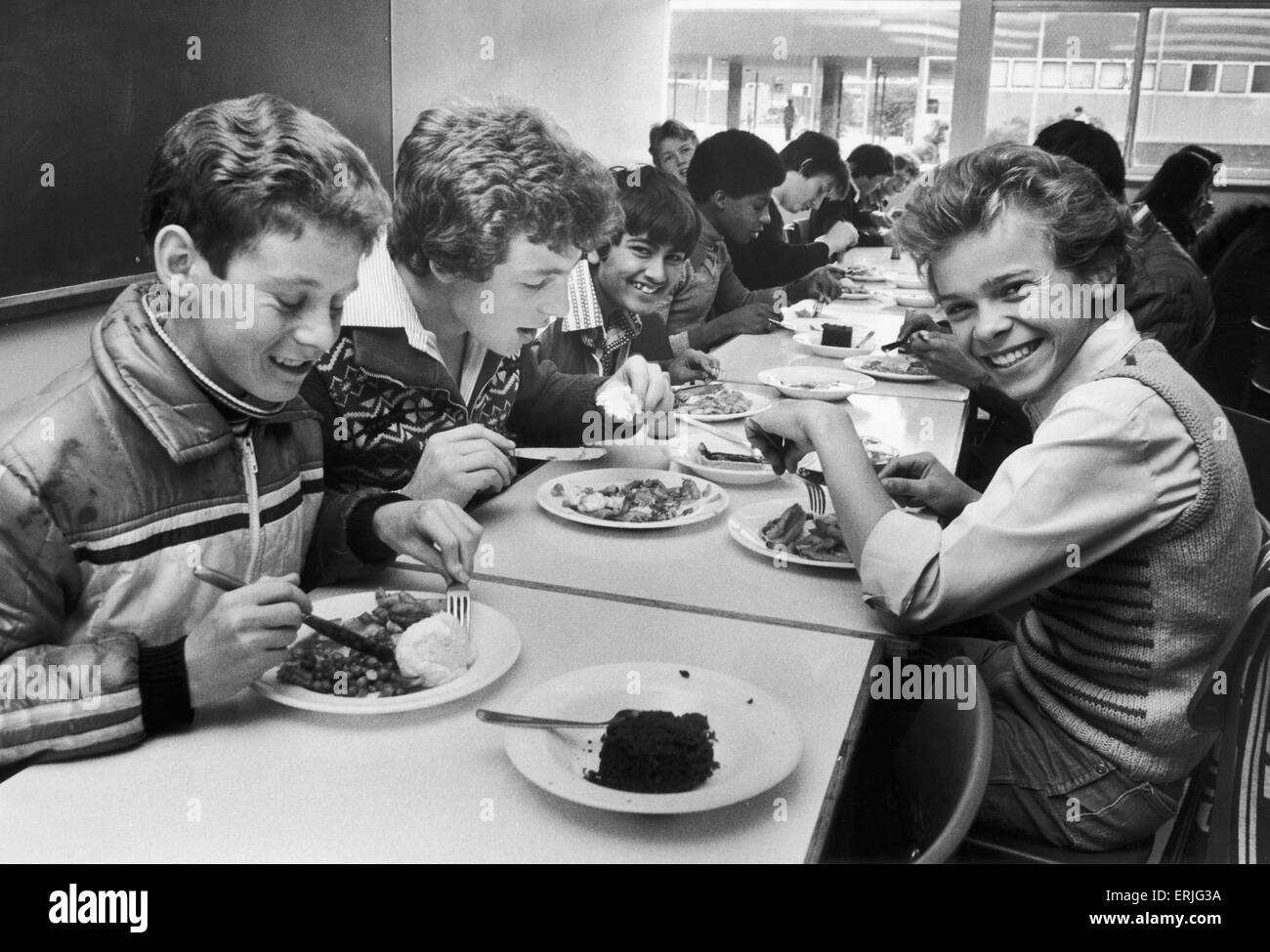Pupils at the Sidney Stringer school, Coventry seen here enjoying their school dinner. 2nd October 1978 - Stock Image