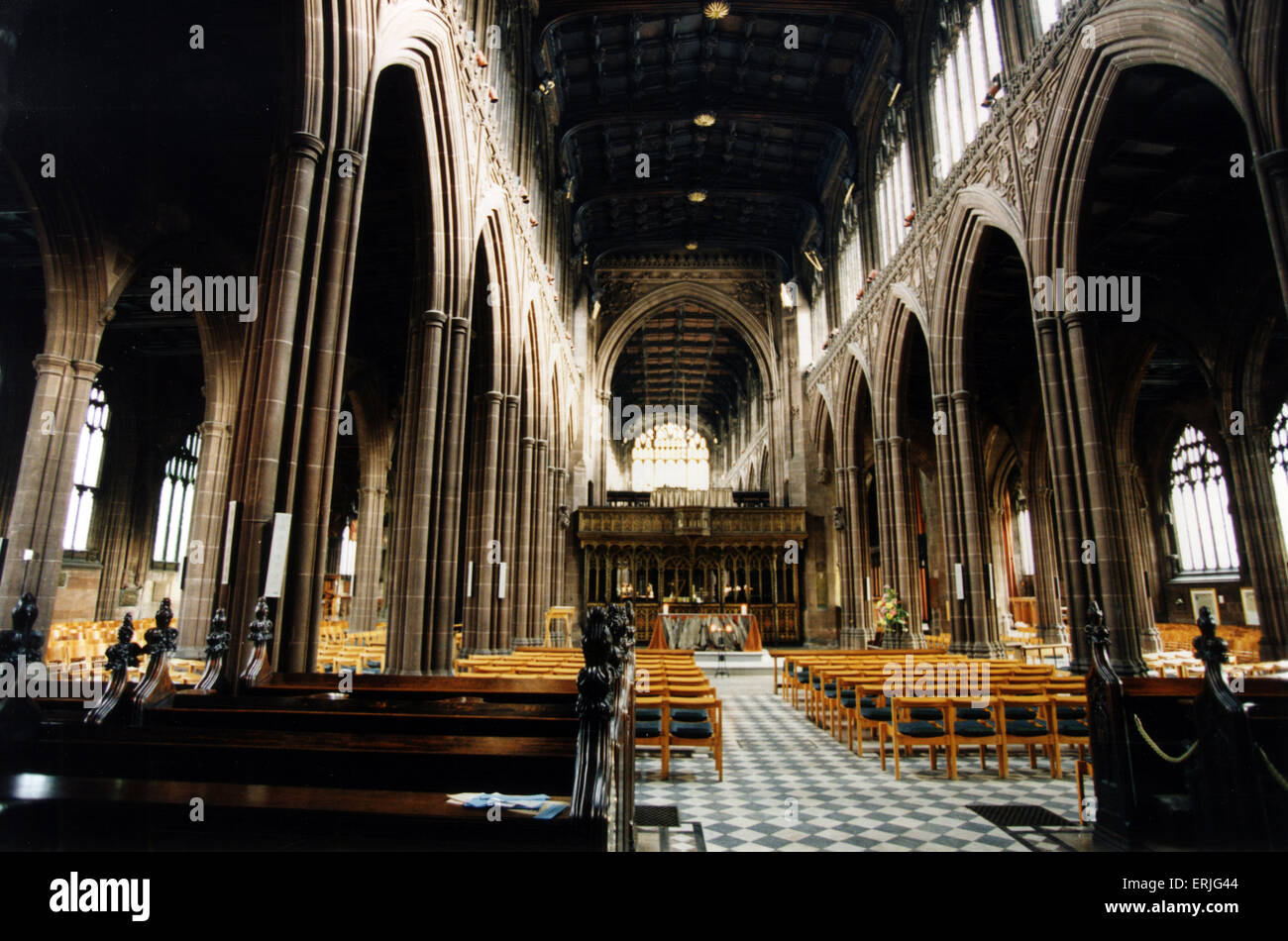 Manchester Cathedral, 14th February 1995. Manchester Cathedral is a medieval church on Victoria Street in central - Stock Image