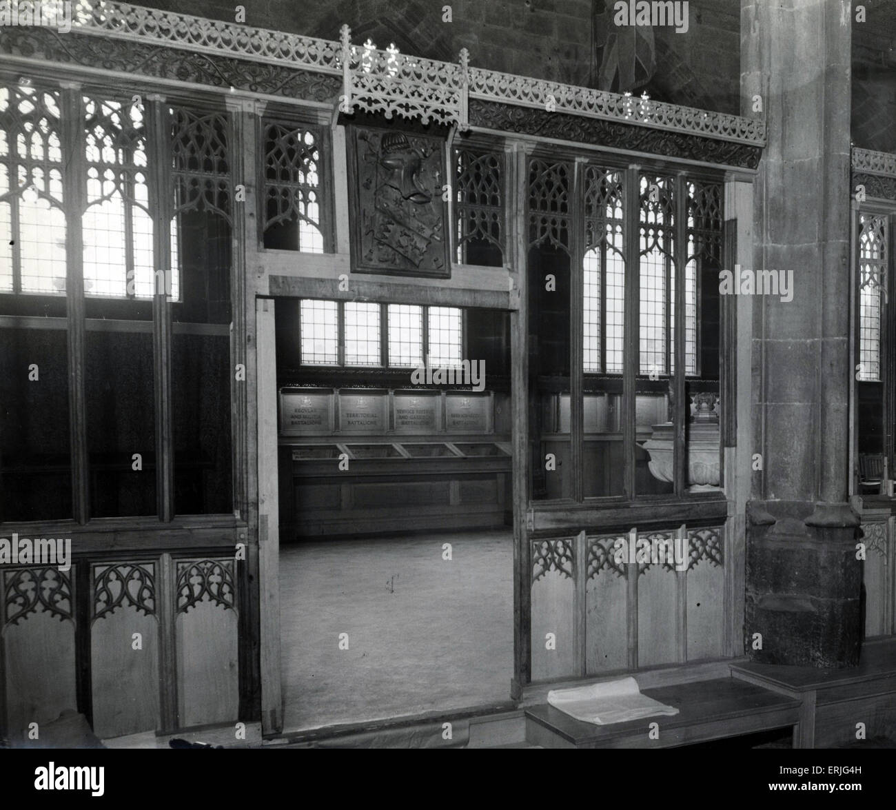 Reconstructed Manchester Regiment Chapel, Manchester Cathedral, 14th November 1951. View into chapel through screen - Stock Image