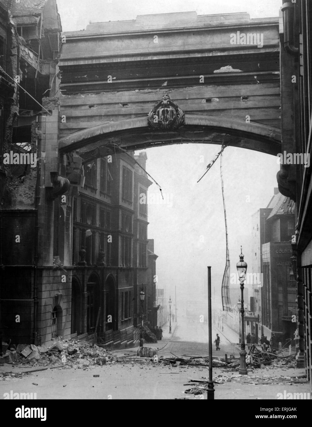 World War Two Air Raids, Birmingham,  GPO Bridge, Circa November 1940. - Stock Image