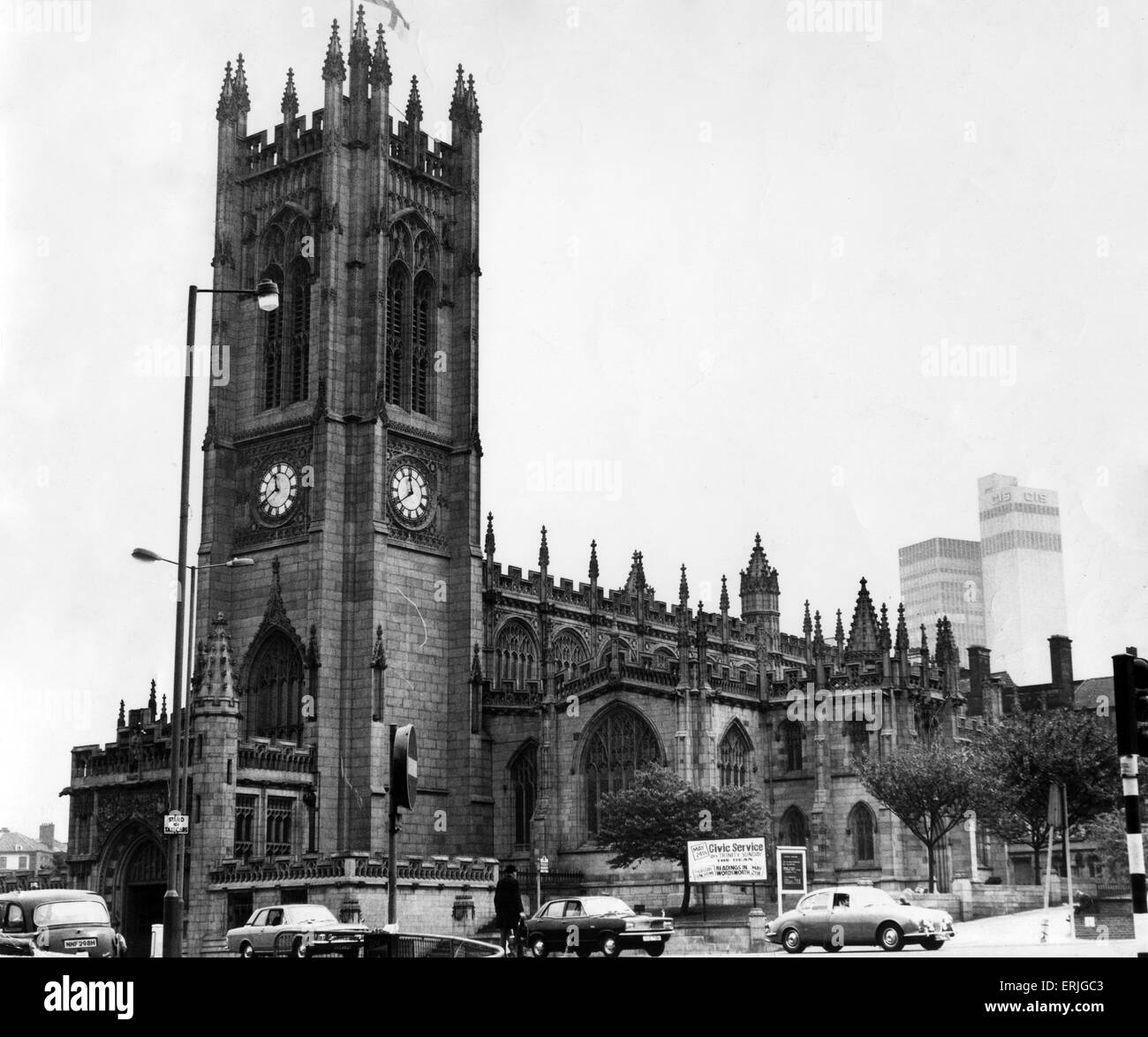 Manchester Cathedral, 18th May 1970. Manchester Cathedral is a medieval church on Victoria Street in central Manchester, - Stock Image