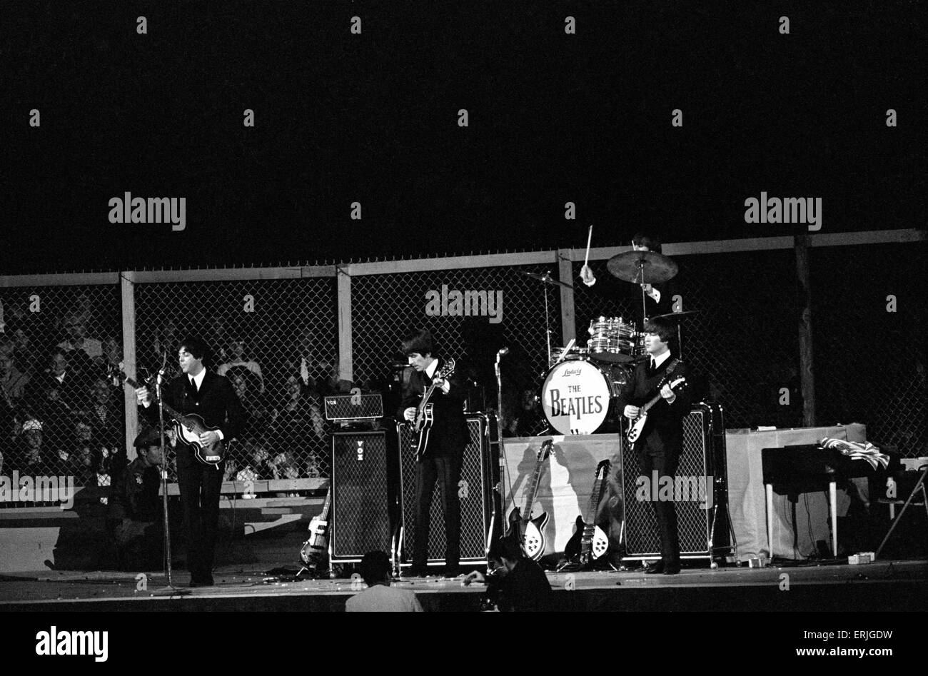 British Pop Group The Beatles Performing On Stage At Cow Palace In San Francisco California During Their North American Tour