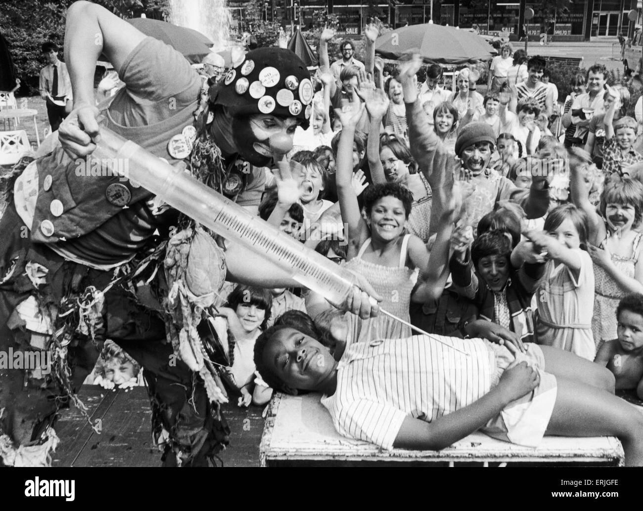 Audience participation was the name of the game when Palfi the clown took the stage in Belgrade Square, Coventry. - Stock Image