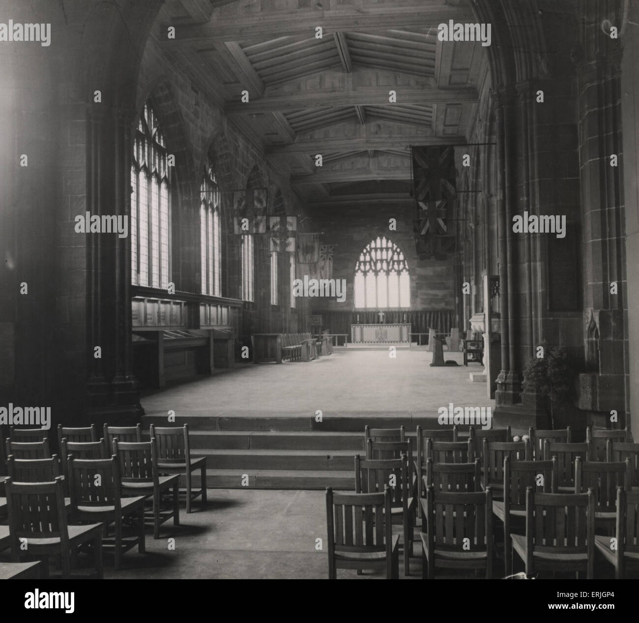 Reconstructed Manchester Regiment Chapel, Manchester Cathedral, 14th November 1951. Manchester Cathedral is a medieval - Stock Image