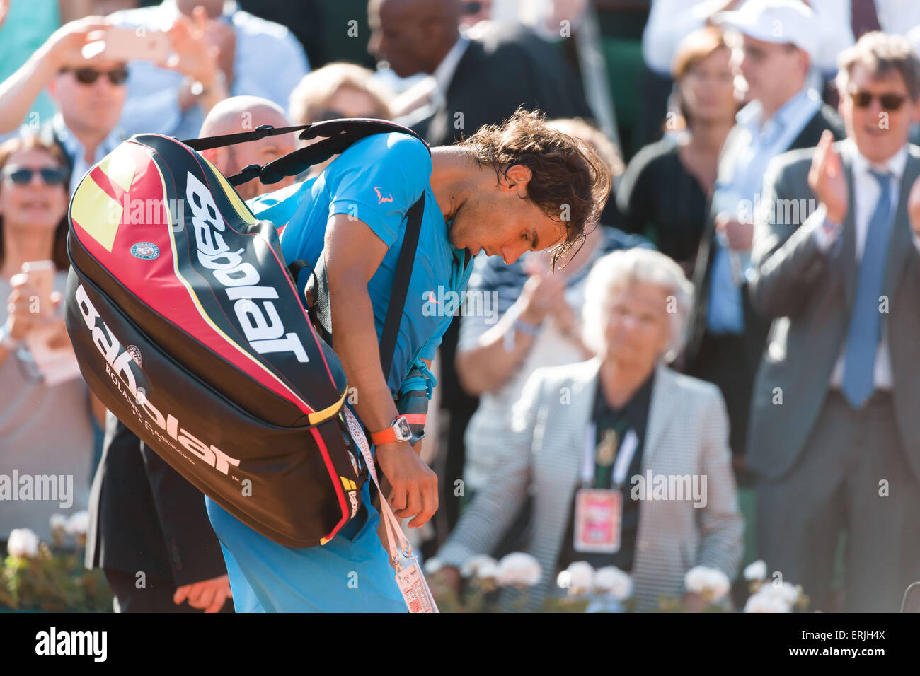 Paris, France. 3rd June, 2015. Rafael Nadal of Spain leaves the court after losing a Quarterfinal match against - Stock Image