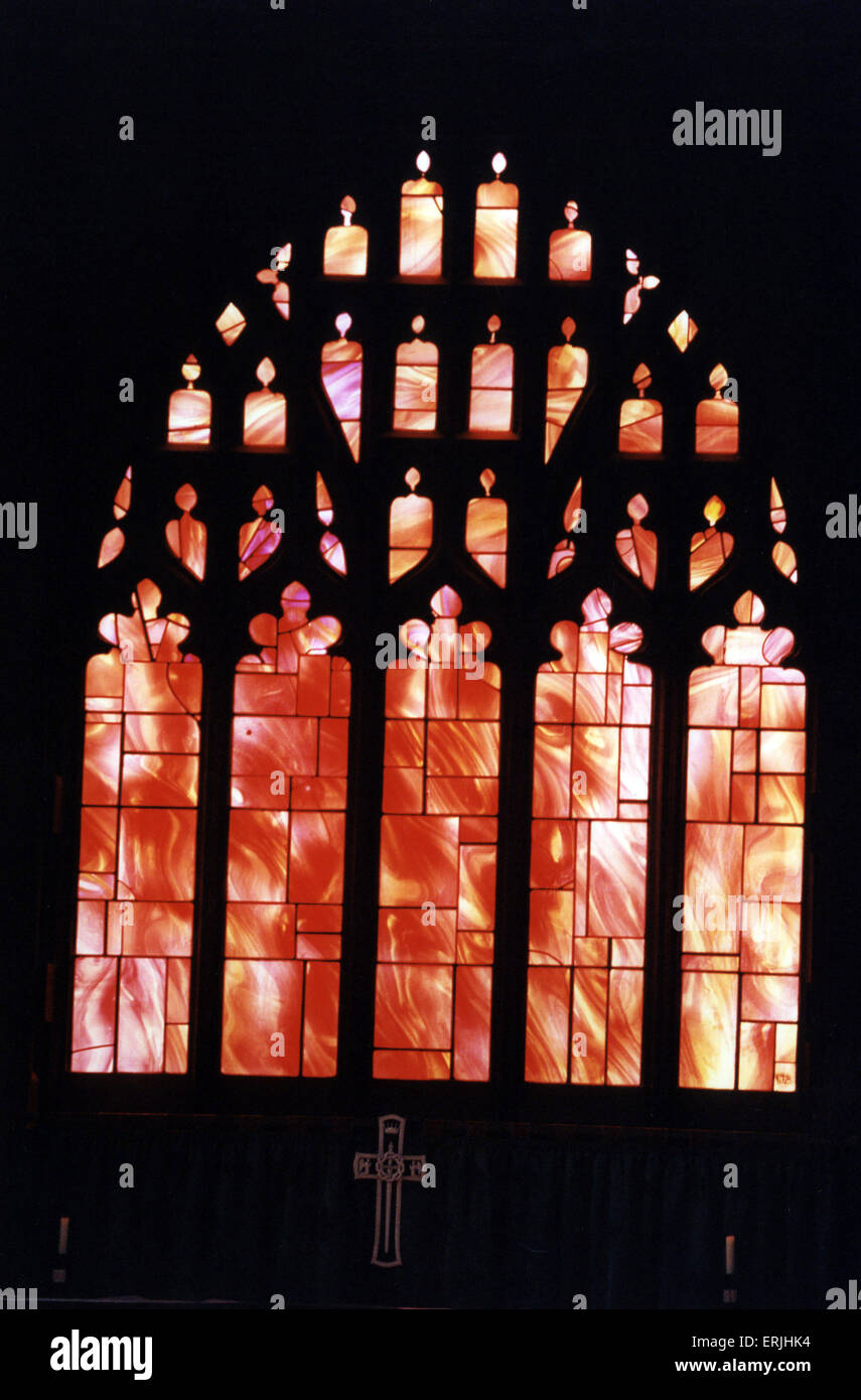 Manchester Cathedral Windows, 25th August 1995. Manchester Cathedral is a medieval church on Victoria Street in - Stock Image