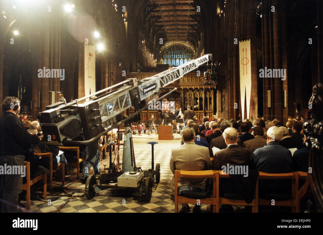 Filming of Songs of Praise, BBC Television Programme at Manchester Cathedral, 1st March 1994. Manchester Cathedral - Stock Image