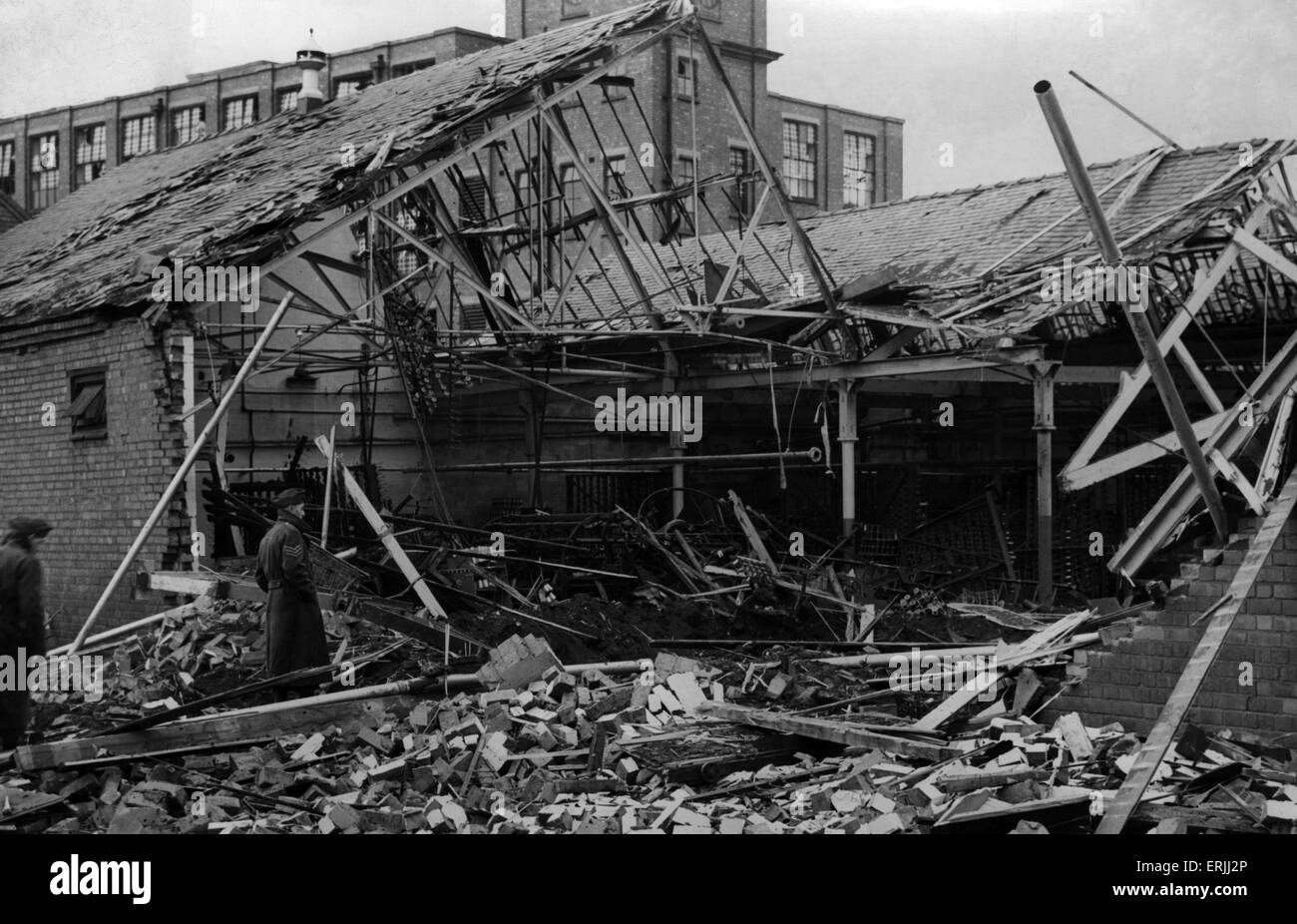 World War Two Air Raids, Birmingham,  9th April 1940. Damage in West Midlands town after last night's raid. Stock Photo