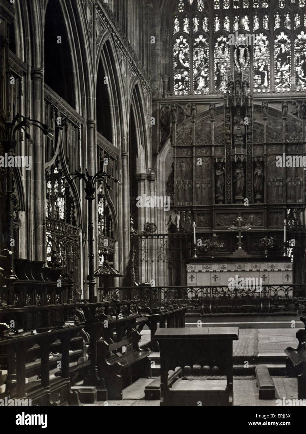 Manchester Cathedral, 1921. Manchester Cathedral is a medieval church on Victoria Street in central Manchester, - Stock Image