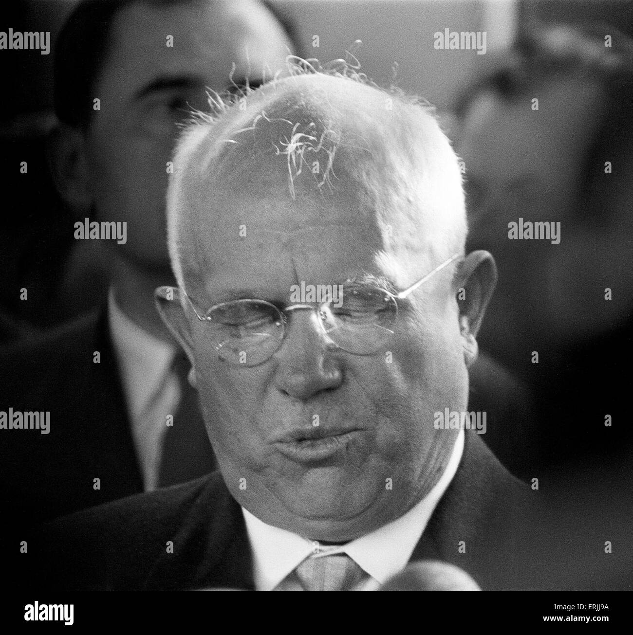 Soviet Premier Nikita Khrushchev, pictured in Vienna, Austria for talks with American President John F Kennedy. - Stock Image