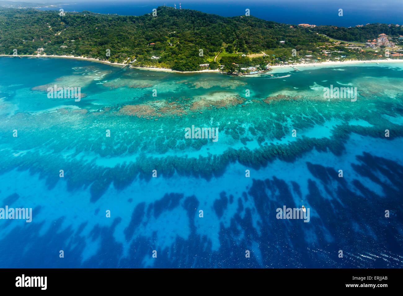 Aerial image coral reef off shore of Roatan island - Stock Image