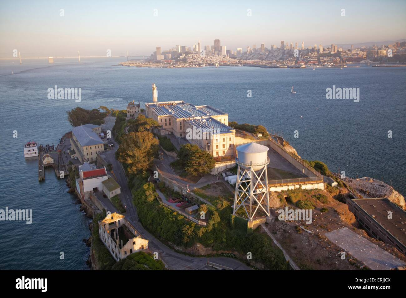 Aerial view over San Francisco at sunset  Aerial view over San Francisco and Alcatraz Island at sunset - Stock Image