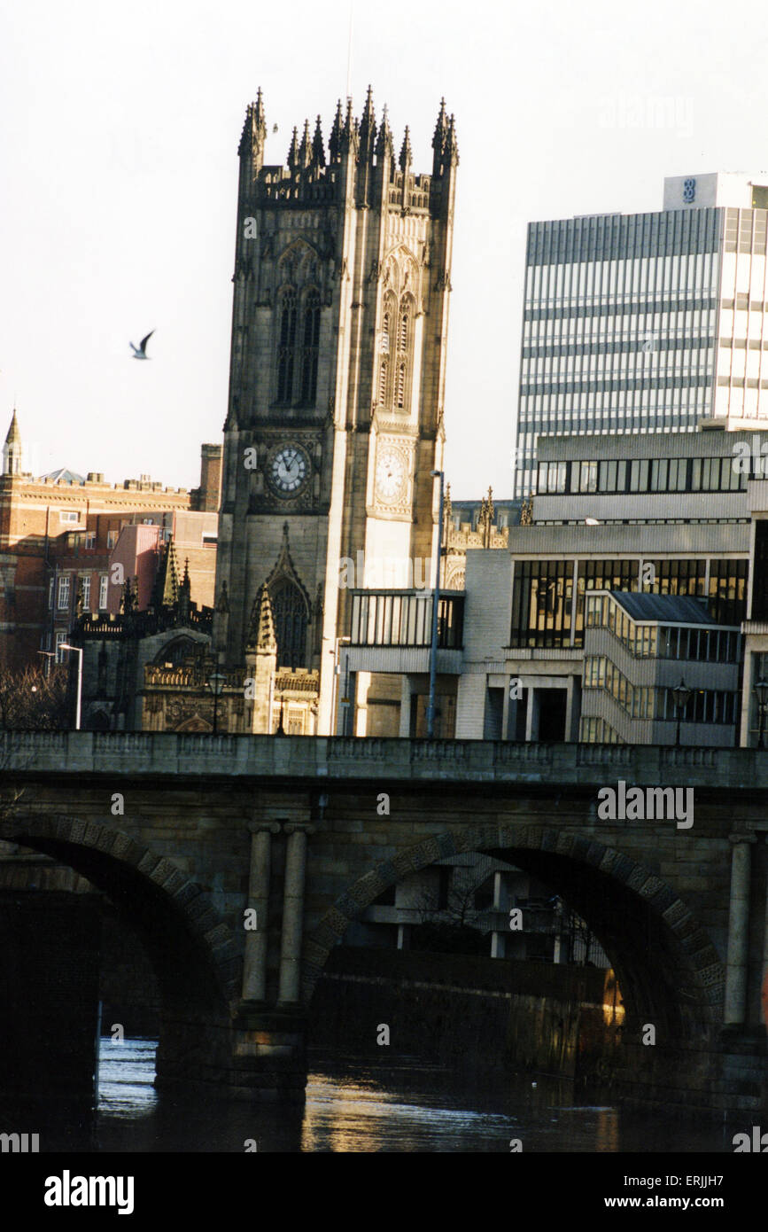 Manchester Cathedral and River Irwell, 14th February 1995. Manchester Cathedral is a medieval church on Victoria - Stock Image