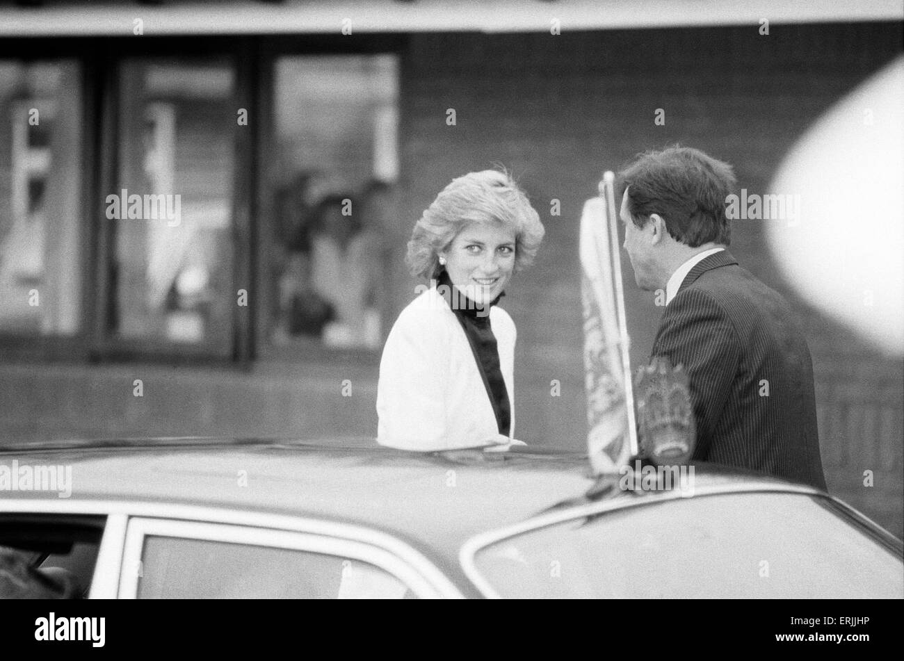 Princess Diana, arrives to officially open Acorns Children's Hospice, only the 3rd Children's hospice in - Stock Image