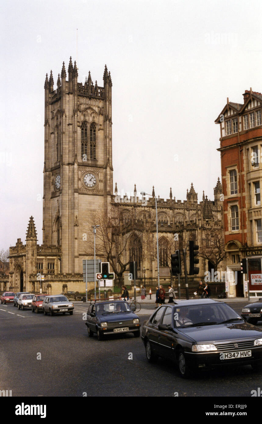 Manchester Cathedral, 27th March 1991. Manchester Cathedral is a medieval church on Victoria Street in central Manchester, - Stock Image