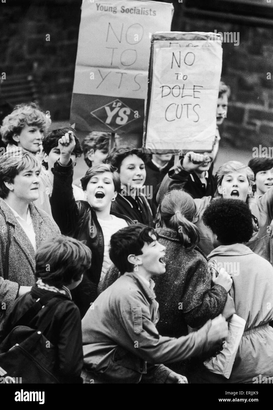 Some of the school children taking part in the half day school strike championed by Dave Nellist MP for Coventry - Stock Image