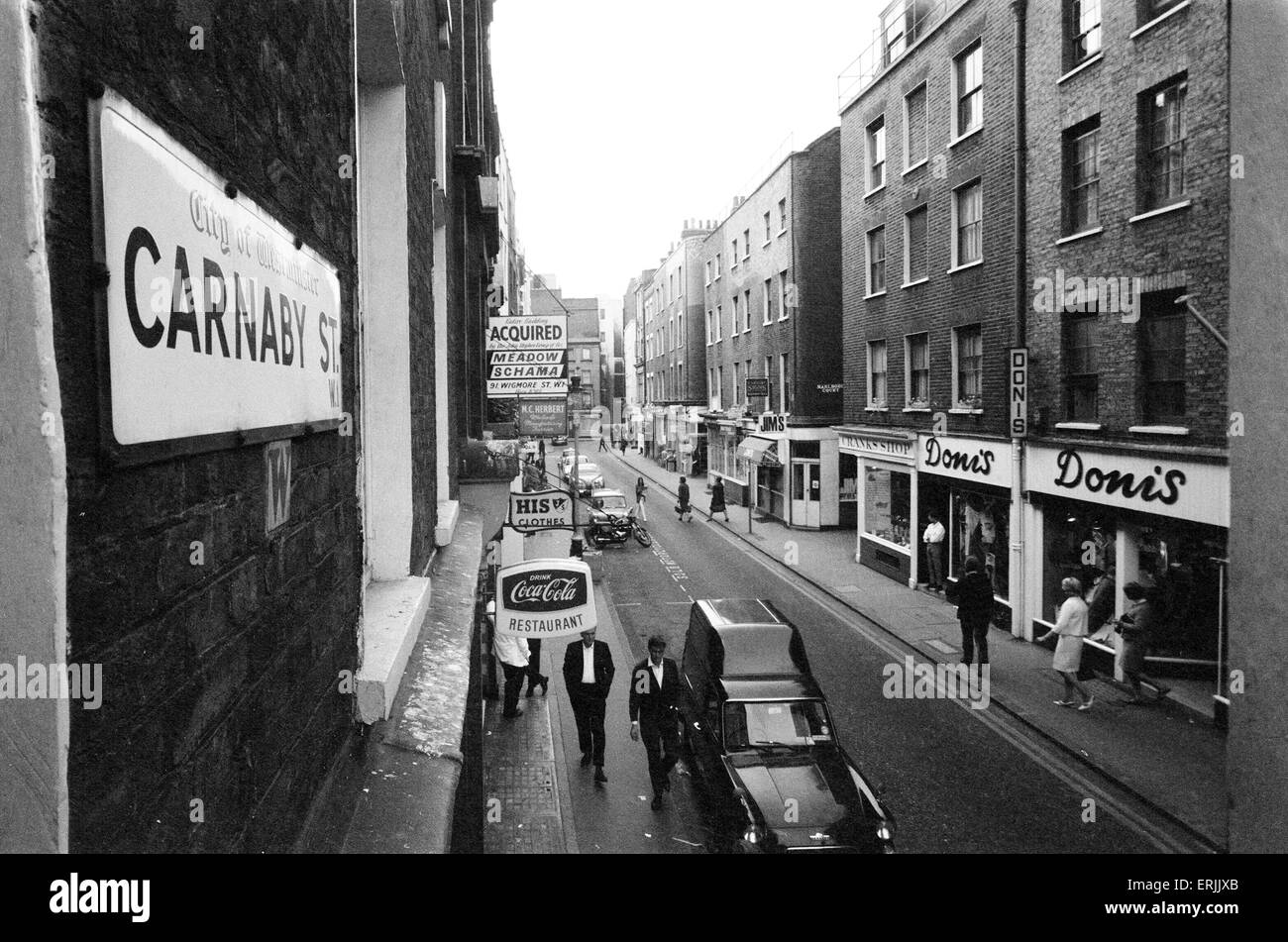 Carnaby Street, London, 22nd August 1965. - Stock Image
