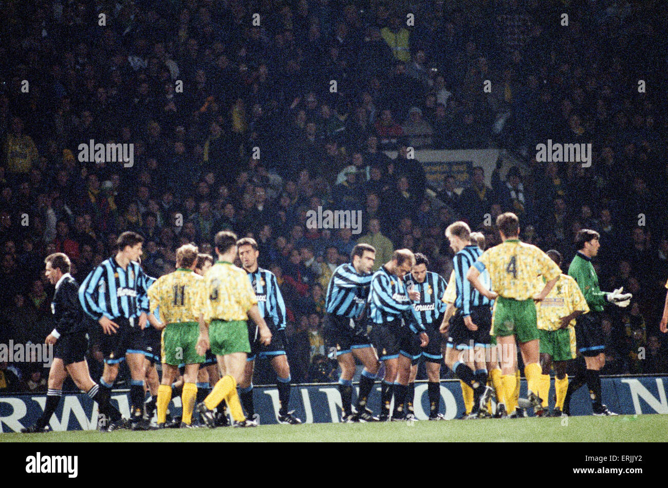 Norwich City 0 v Inter Milan 1 UEFA Cup Round 16 first leg at Bramall Lane. Inter Milan won one nil courtesy of - Stock Image