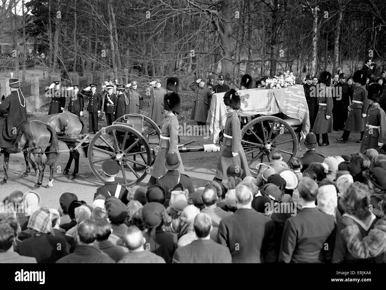 Funeral Procession of King George VI. 16th February 1952. - Stock Image