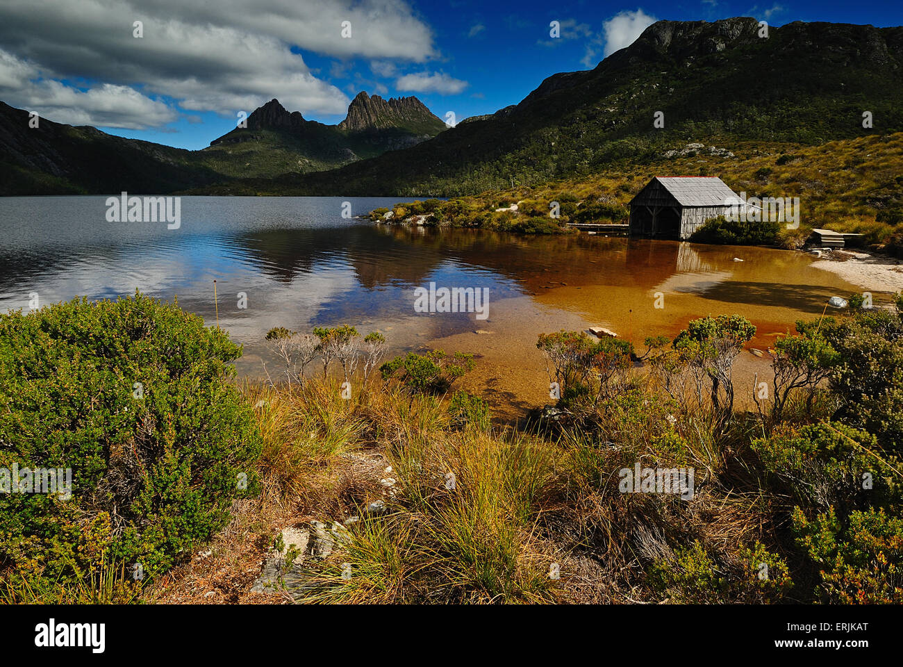 Cradle Mountain National Park with Dove lake and a hut - Stock Image