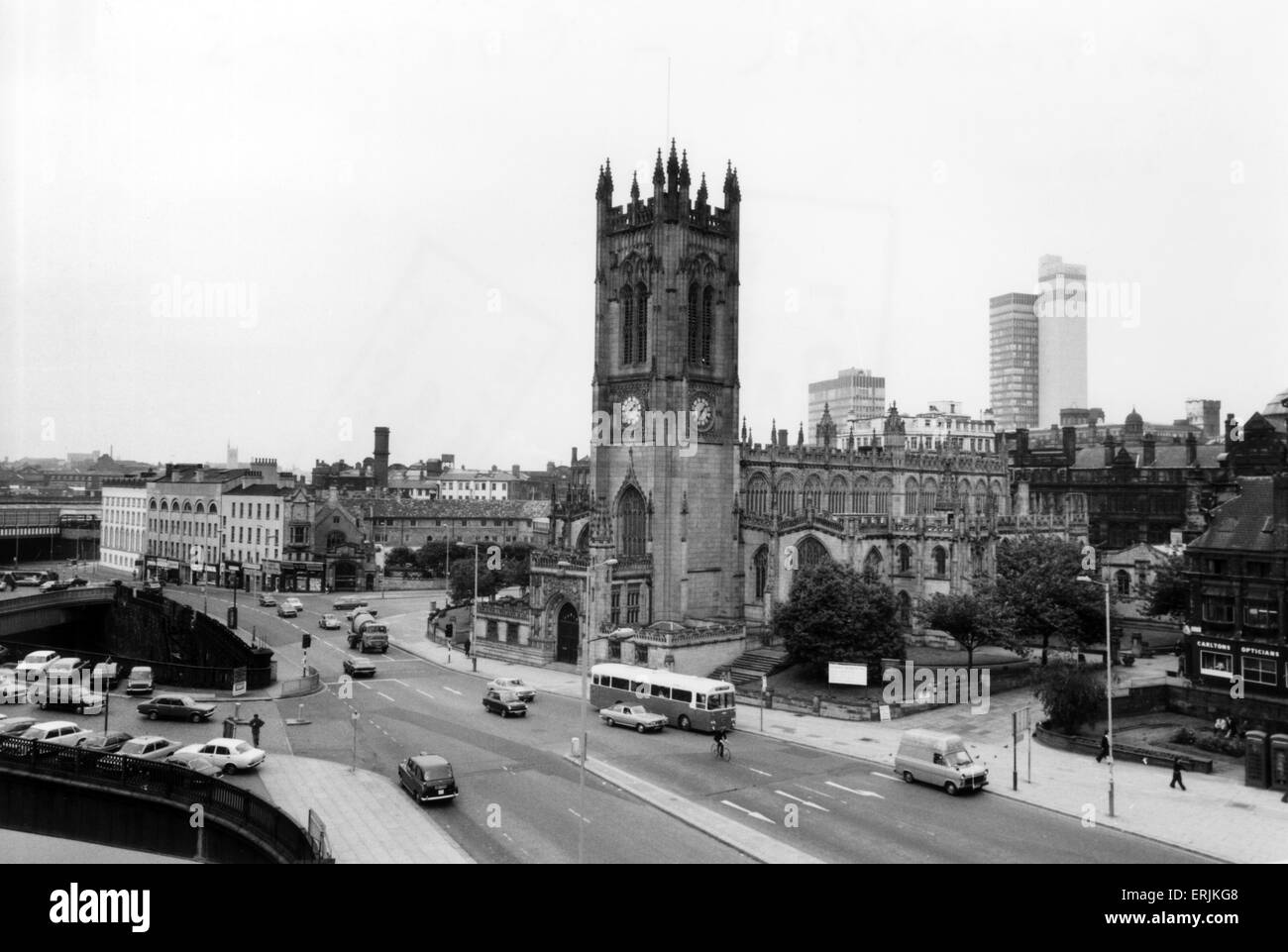 Manchester Cathedral, 21st June 1976. Manchester Cathedral is a medieval church on Victoria Street in central Manchester, - Stock Image