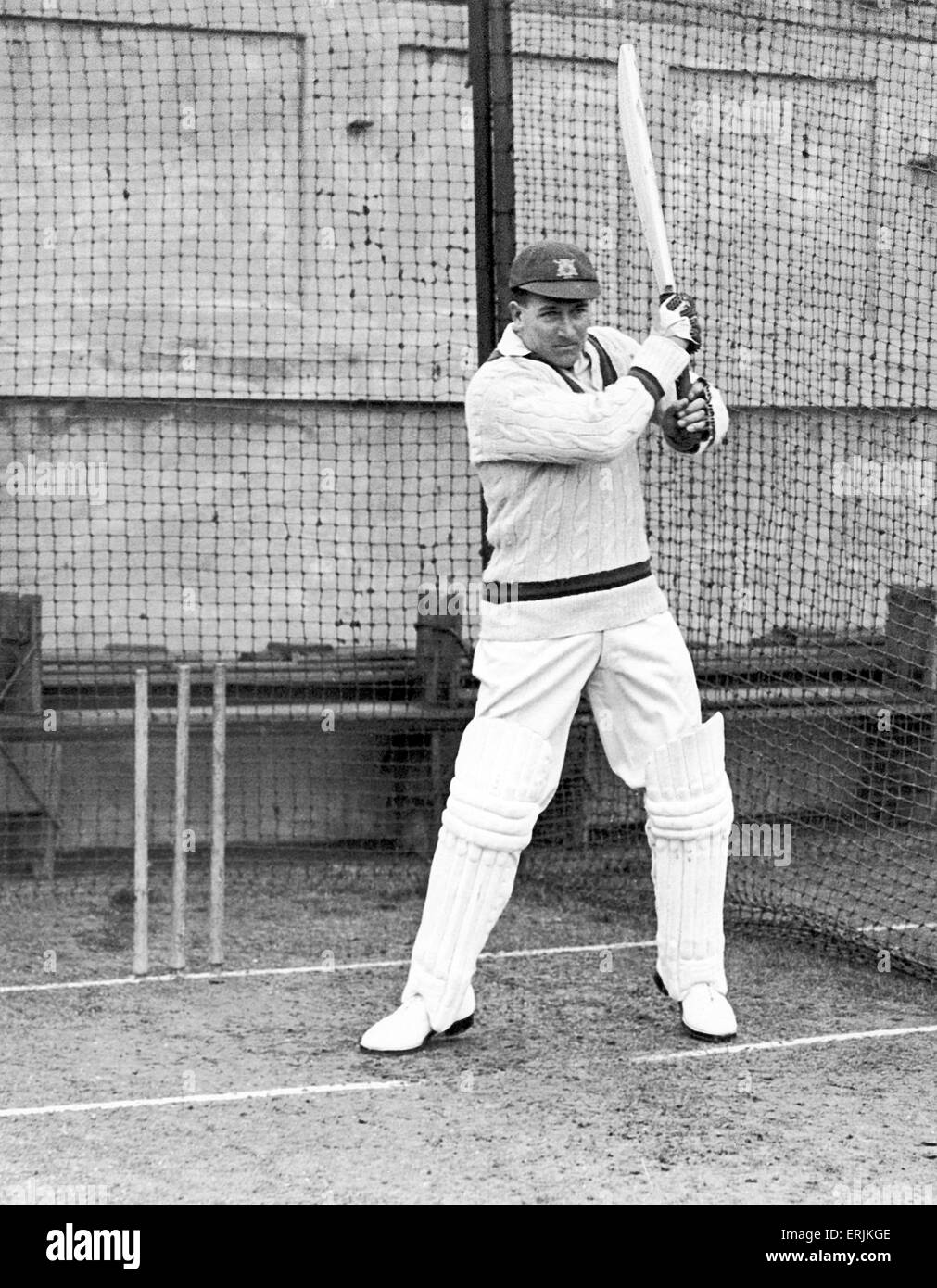 Harold Larwood in batting practice Circa 1930. - Stock Image