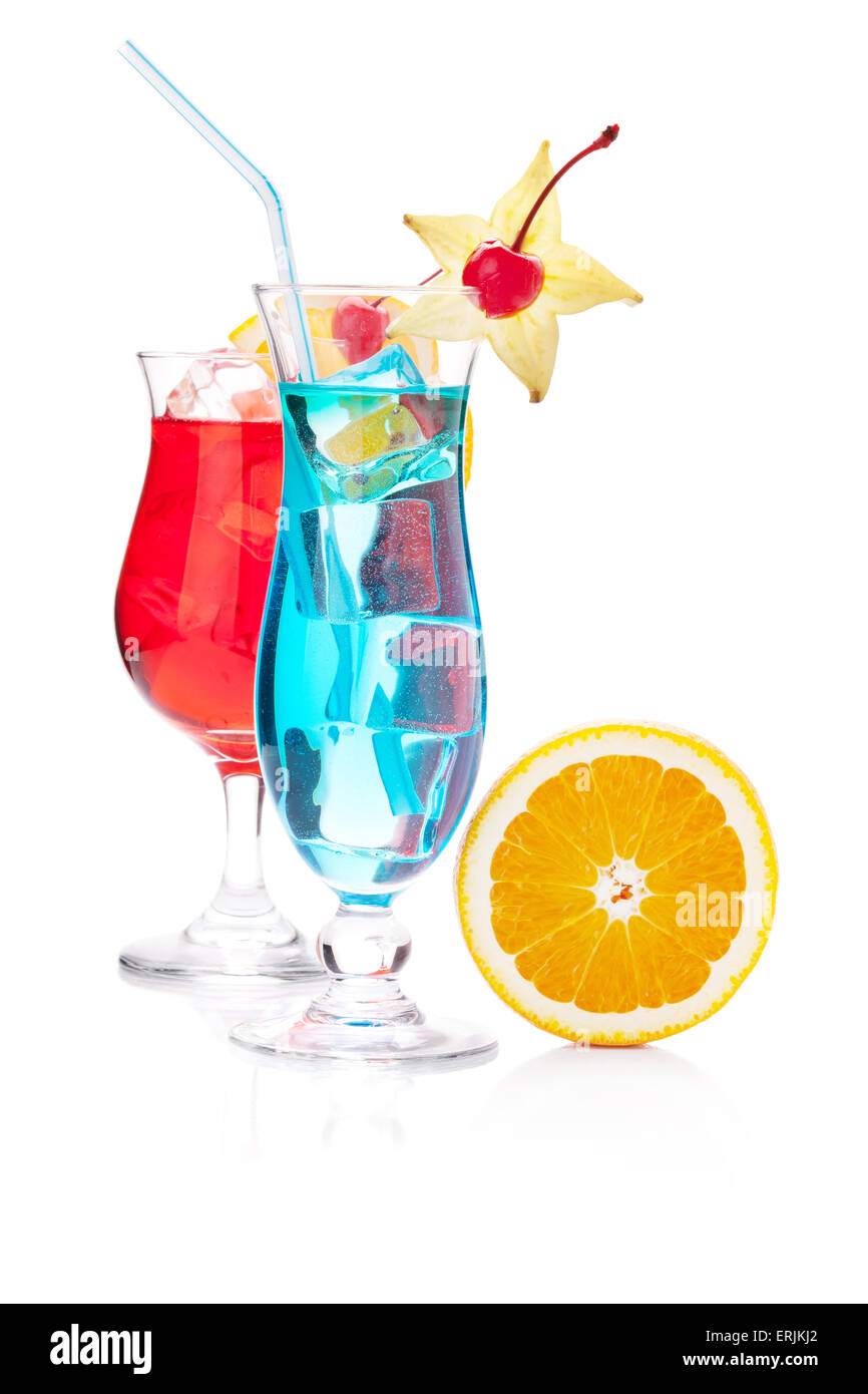 Two tropical cocktails and orange. Isolated on white background - Stock Image