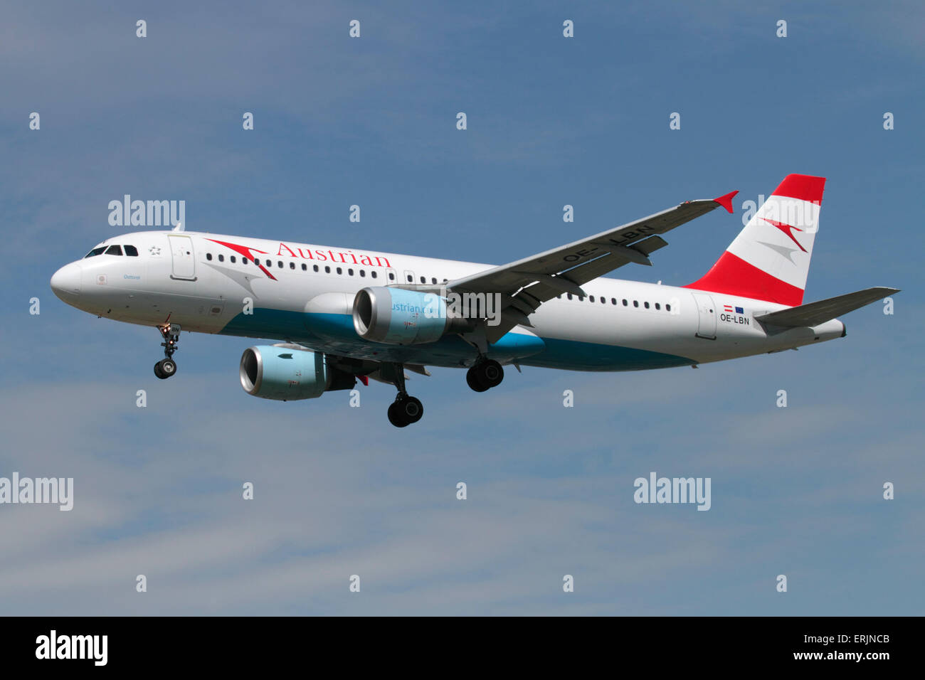 Austrian Airlines Airbus A320 airliner on approach. Civil aviation and commercial air travel. - Stock Image