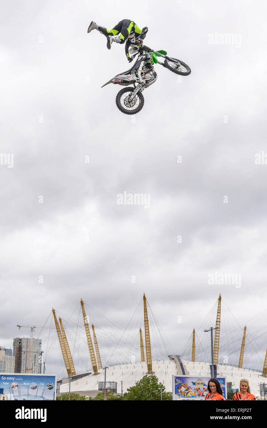 Press photocall for 'Night of the Jumps'  on 02/06/2015 at O2 Arena, London. Australian rider Steve Sommerfeld - Stock Image