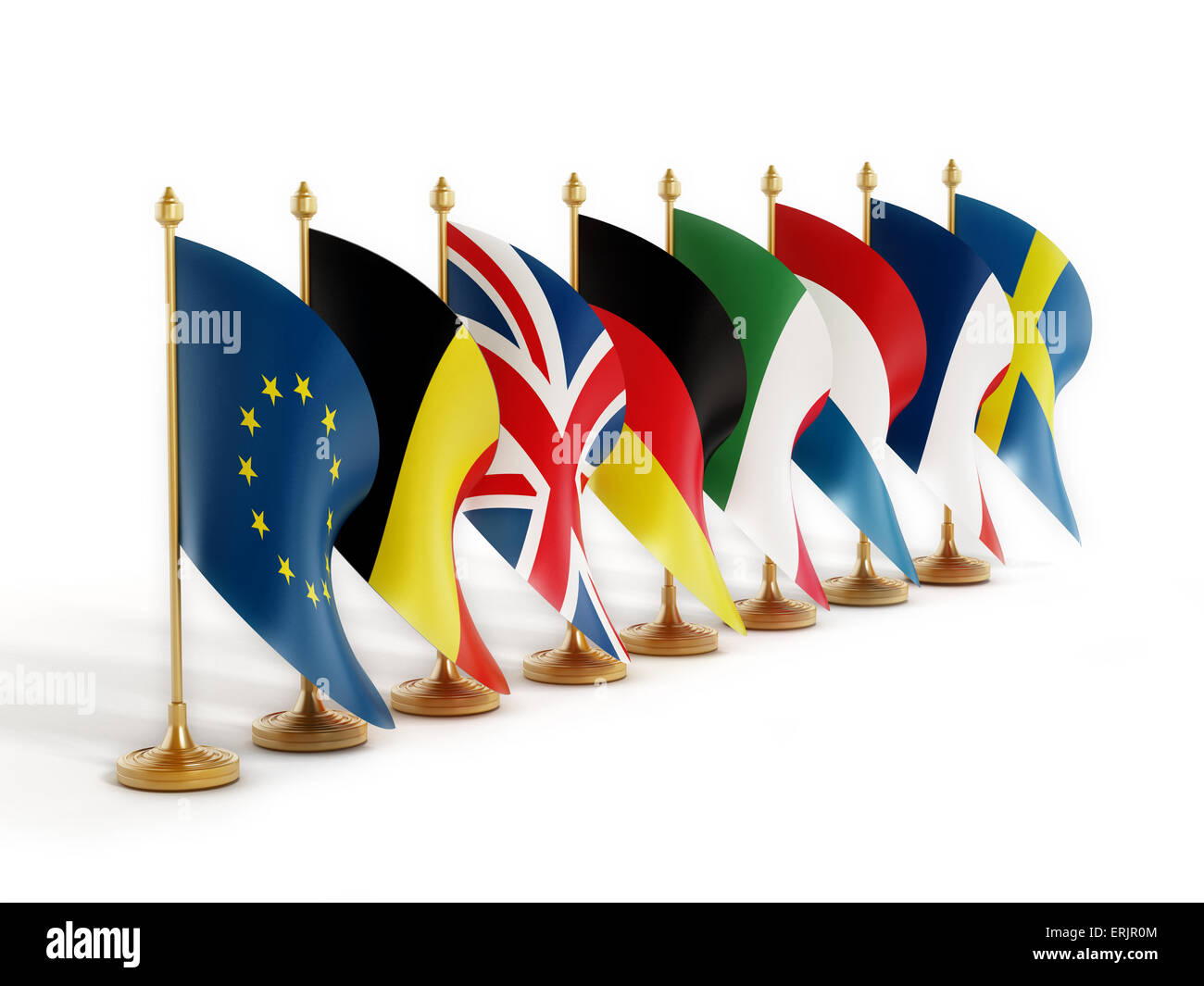 European Union Founder Country Flags isolated on white background. - Stock Image