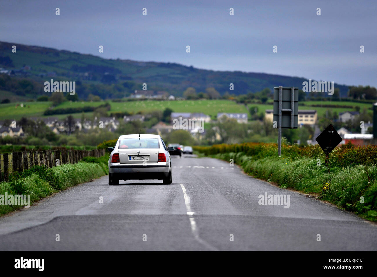 Narrow country road at Burt, County Donegal, Ireland - Stock Image