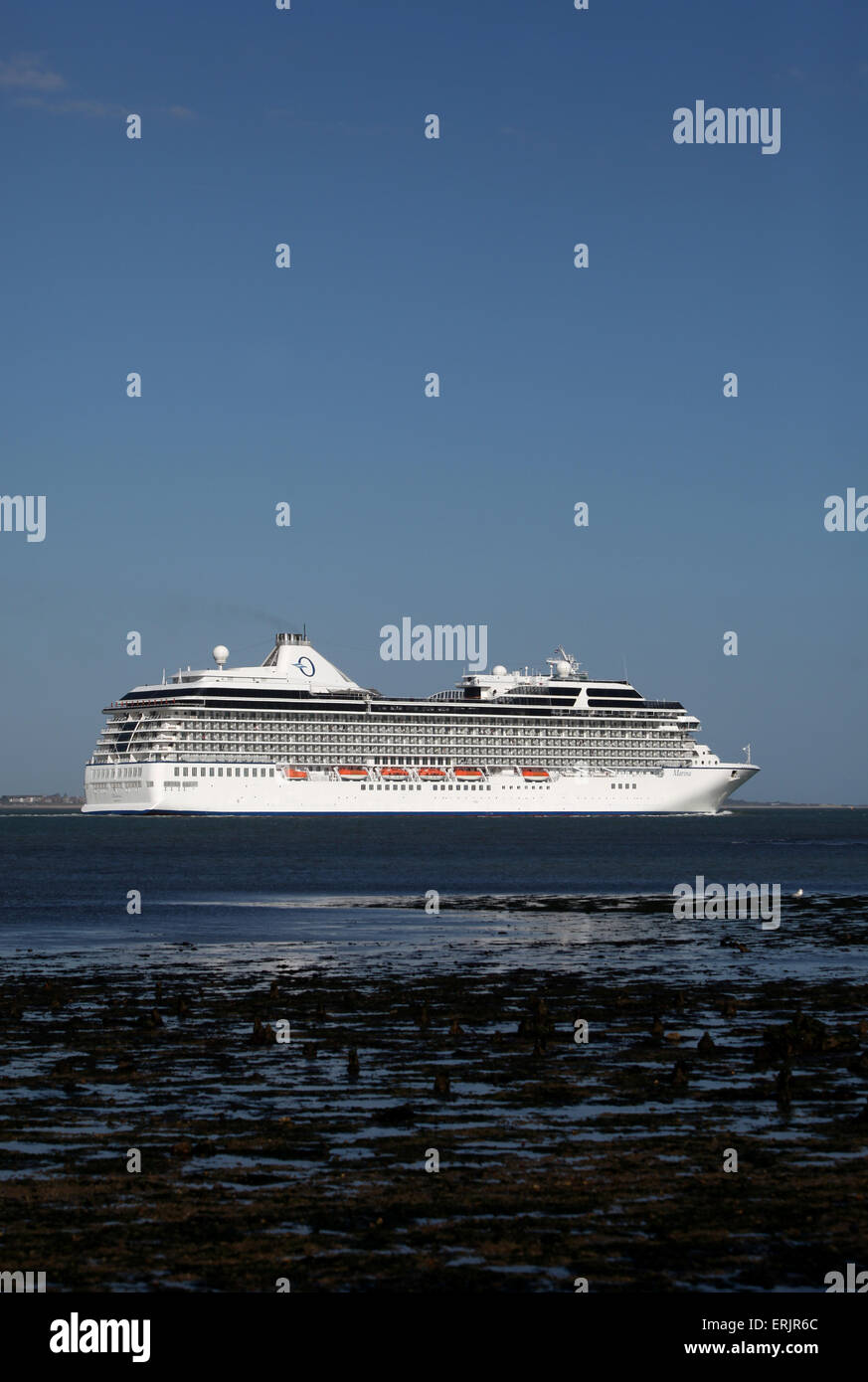 Oceania Cruise ship MS Marina pictured leaving Southampton - Stock Image