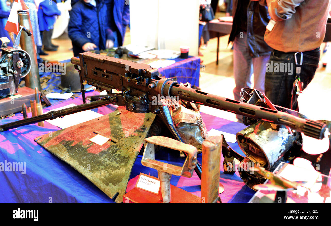 WWII Browning .30 calibre light machine gun on display at exhibition in Derry, Londonderry, Northern Ireland. - Stock Image