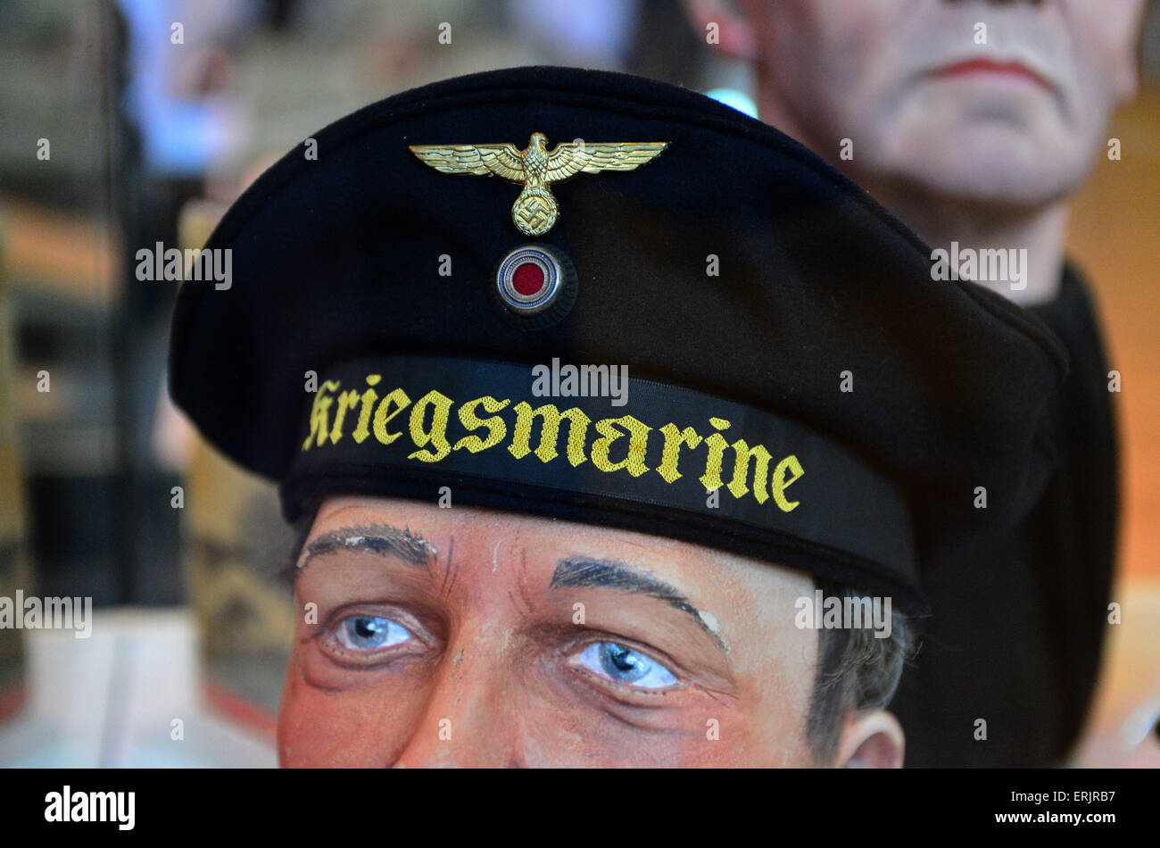 WW2 German Navy Kriegsmarine Blue U-Boat Sailor cap exhibited in Derry, Londonderry, Northern Ireland - Stock Image