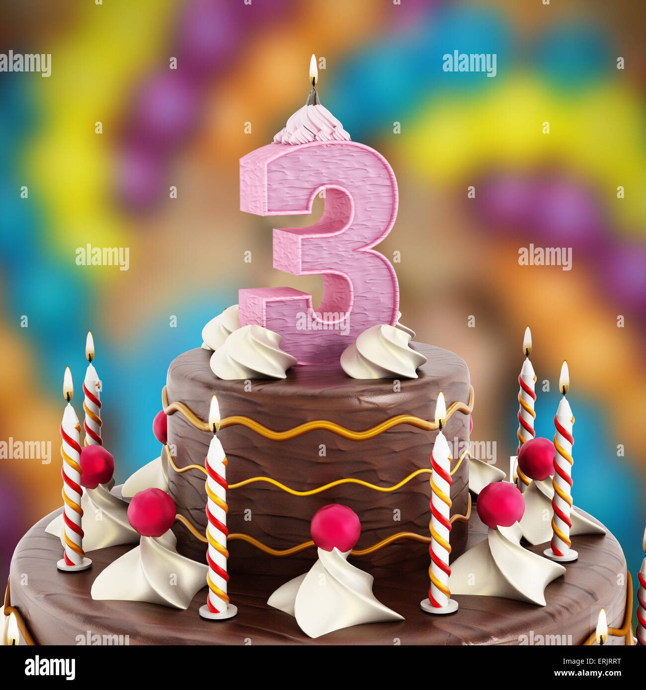 Birthday Cake With Number 3 Lit Candle Stock Photo