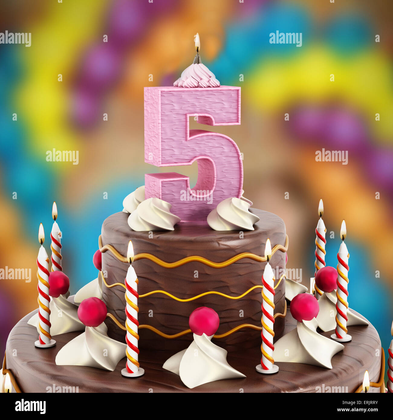 Birthday Cake With Number 5 Lit Candle Stock Photo 83392399 Alamy