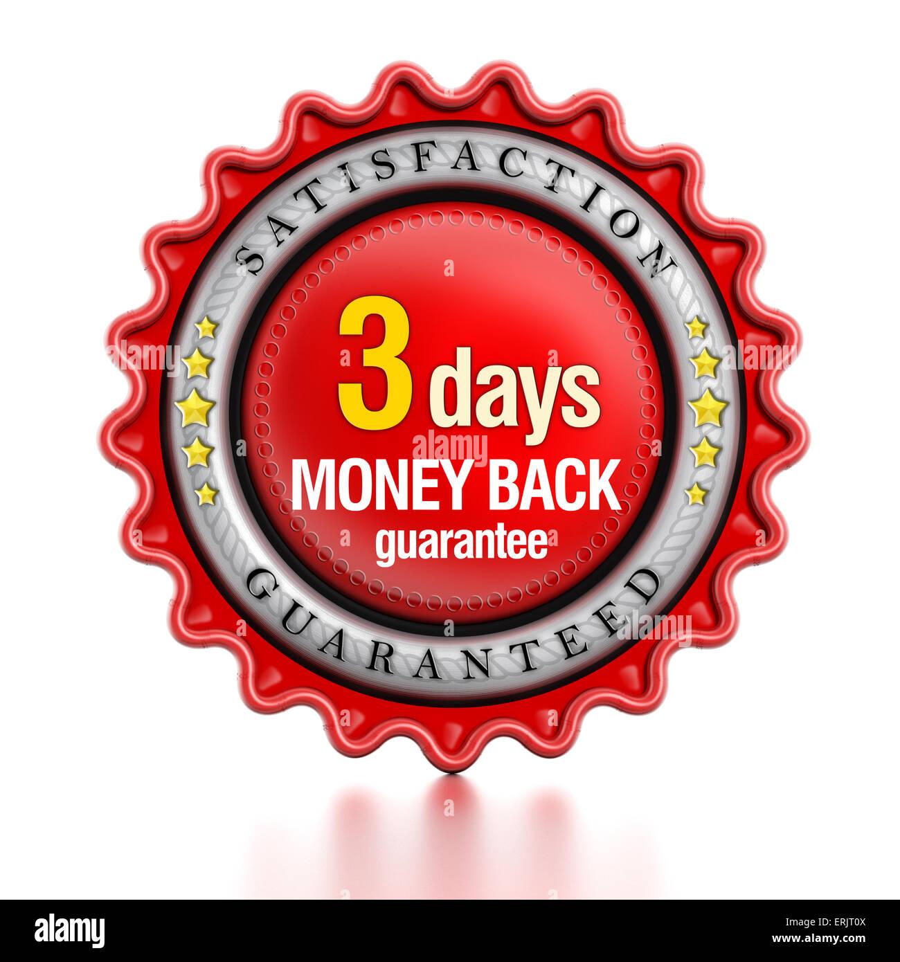 3 days money back stamp isolated on white background. - Stock Image