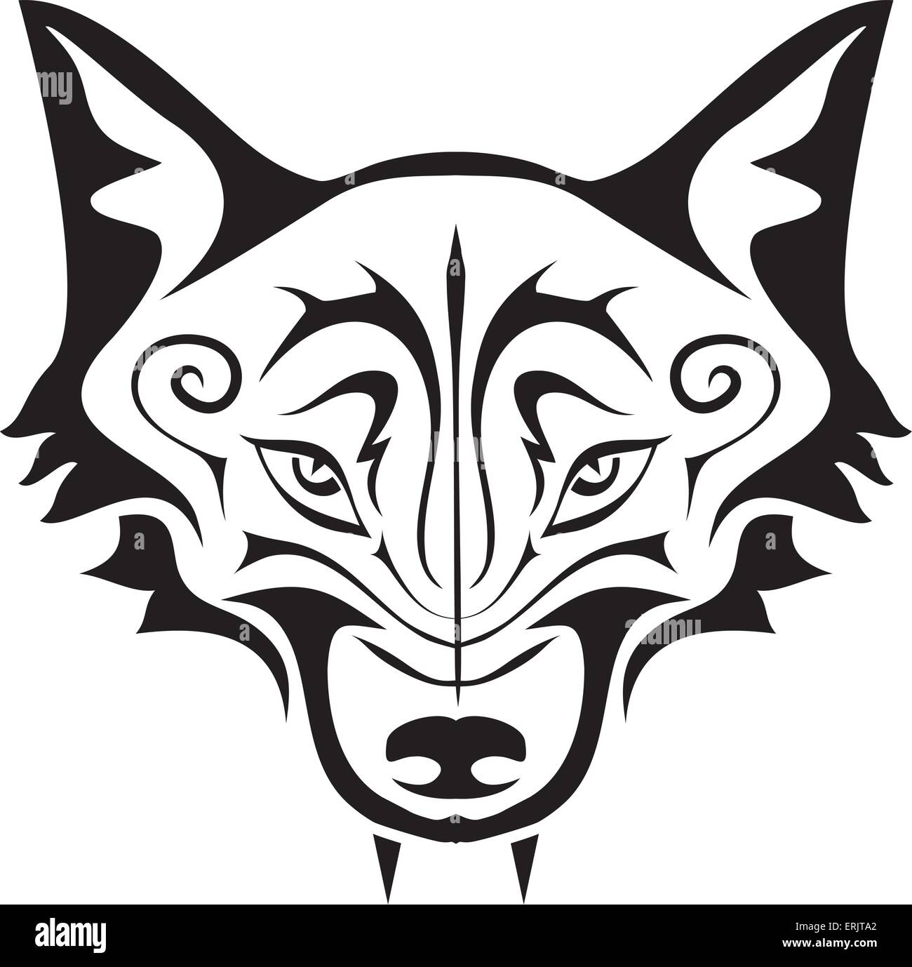 32e948a460d91 Black gothic tattoo. The head of a wolf on a white background - Stock Image