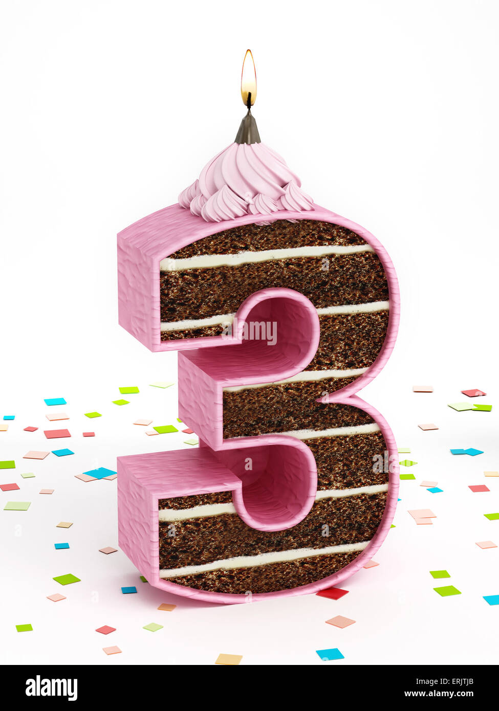 Number 3 shaped chocolate birthday cake with lit candle. - Stock Image