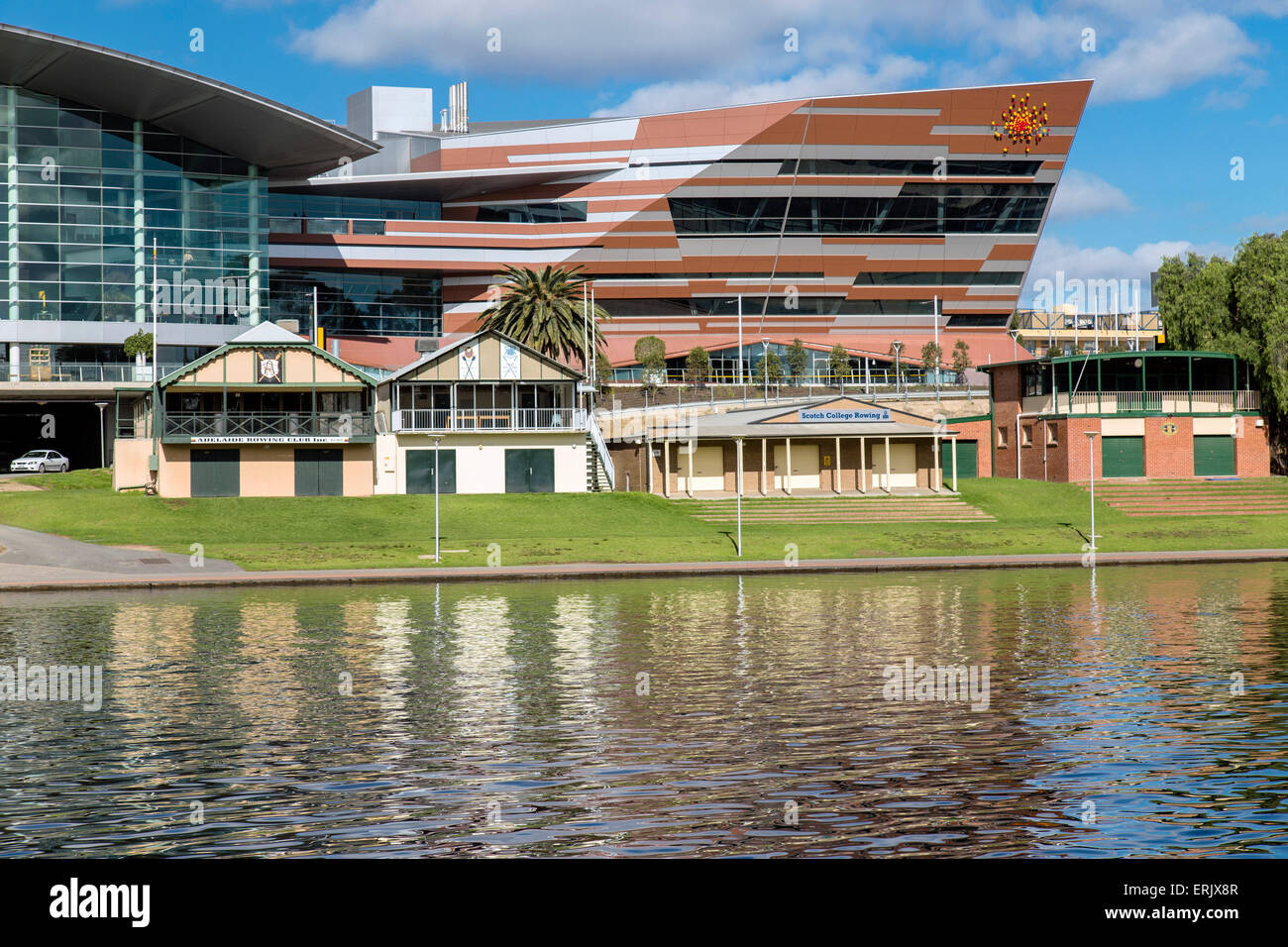 Adelaide Convention Centre and Rowing Club Sheds - Stock Image