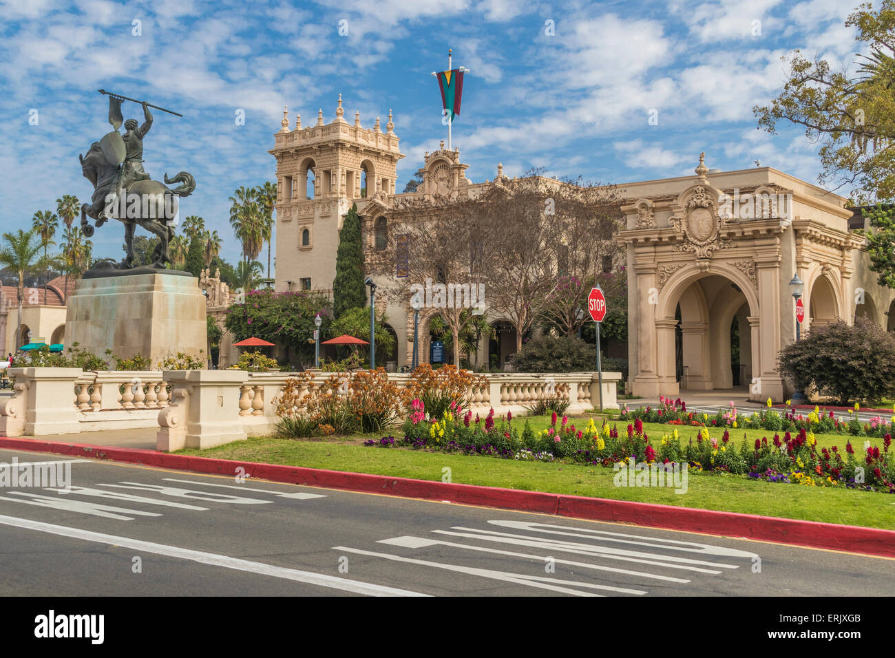 Balboa Park in San Diego, at 1200 acres, is the largest urban cultural park in the United States. Stock Photo