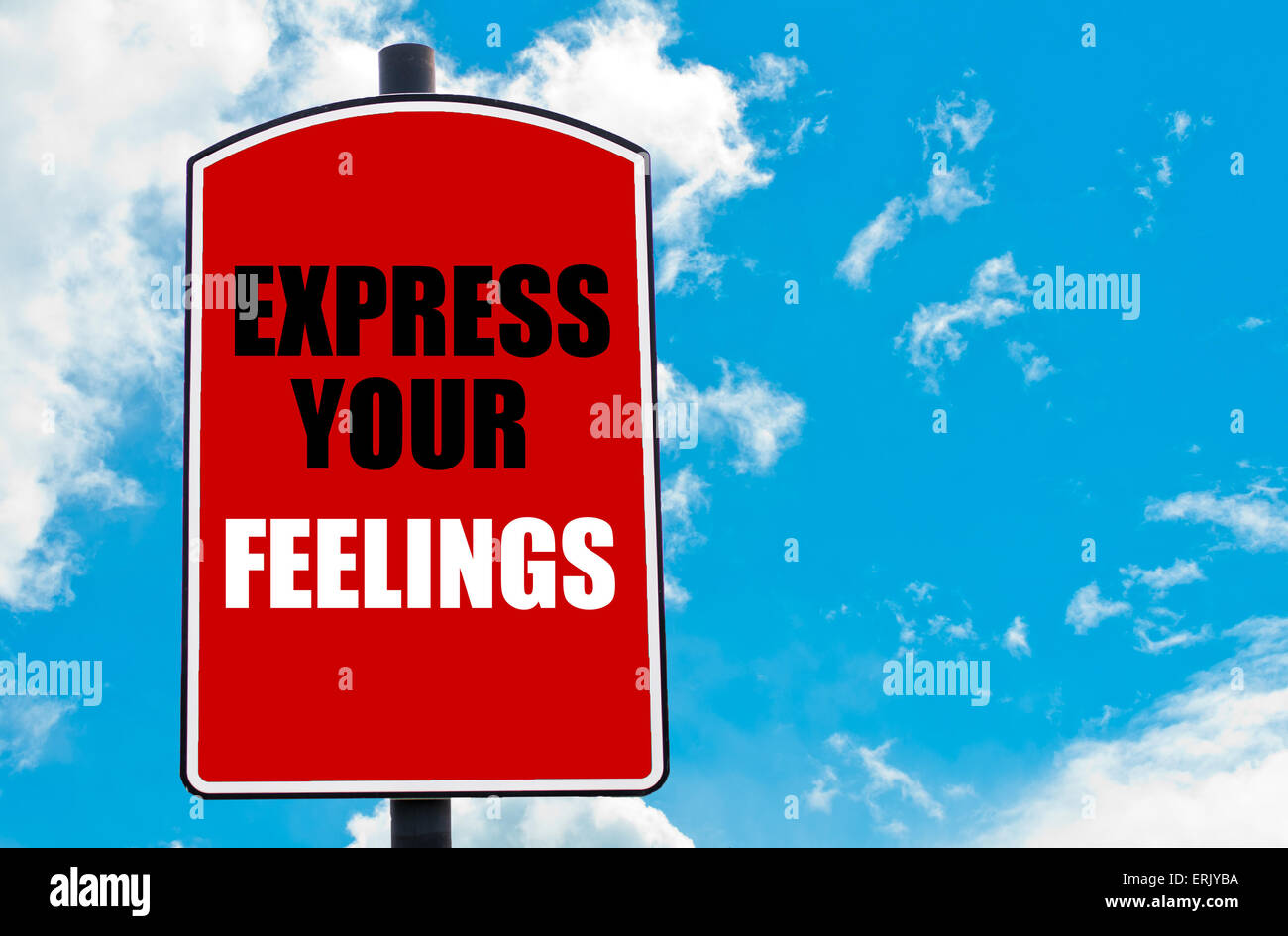 Express Your Feelings motivational quote written on red road sign isolated over clear blue sky background. - Stock Image