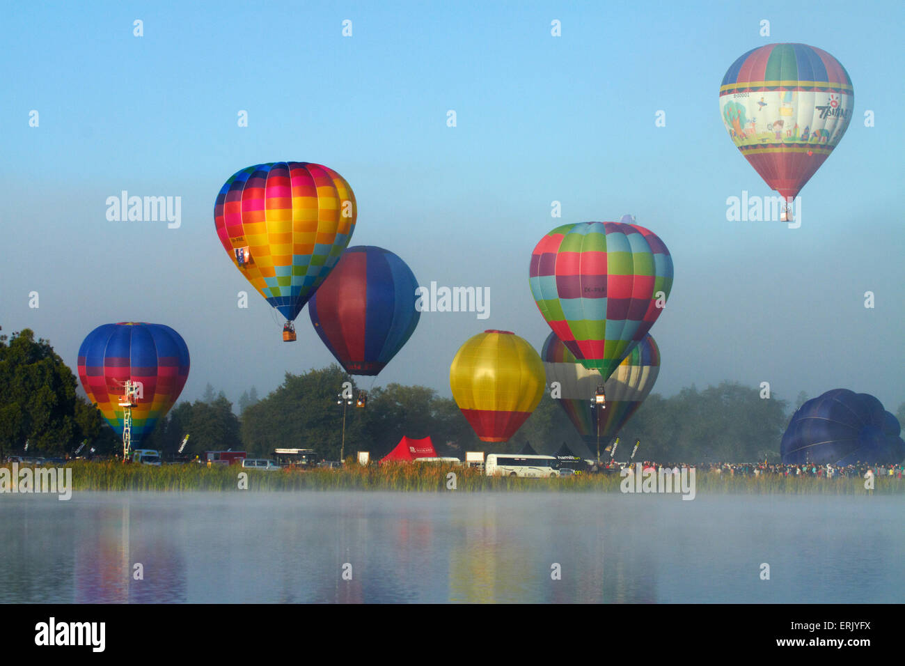 Hot air balloons, Balloons over Waikato Festival, Lake Rotoroa, Hamilton, Waikato, North Island, New Zealand - Stock Image